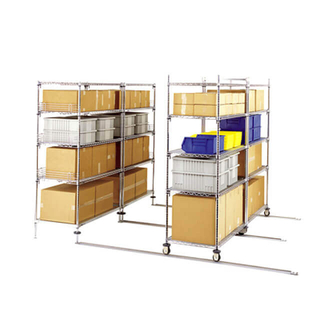 high density floor track sliding wire shelving