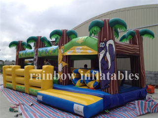 RB4075-1(10x4x2m) Inflatable Palm Tree Playground, Inflatable Palm Tree Funcity, Inflatable Obstacle and Slide for Kids
