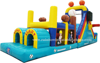 RB5022(12.2x3x4.82m) Inflatable Obstacle Course/ Inflatable Basketball Theme Obstacle with Slide