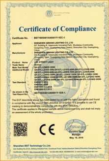 CE certificate for LED street light and high bay light