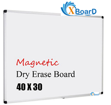 XBoard Aluminum Frame Wall-Mounted 40 x 30 Inch Magnetic White Dry Erase Board with Removable Marker Tray