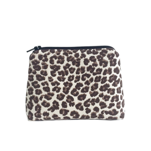 Leopard print makeup bag