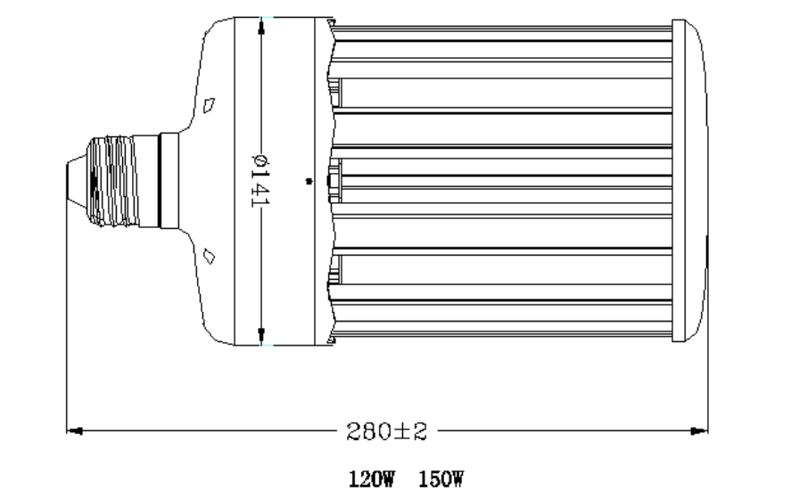 120W-150W LED Corn Light Size.png