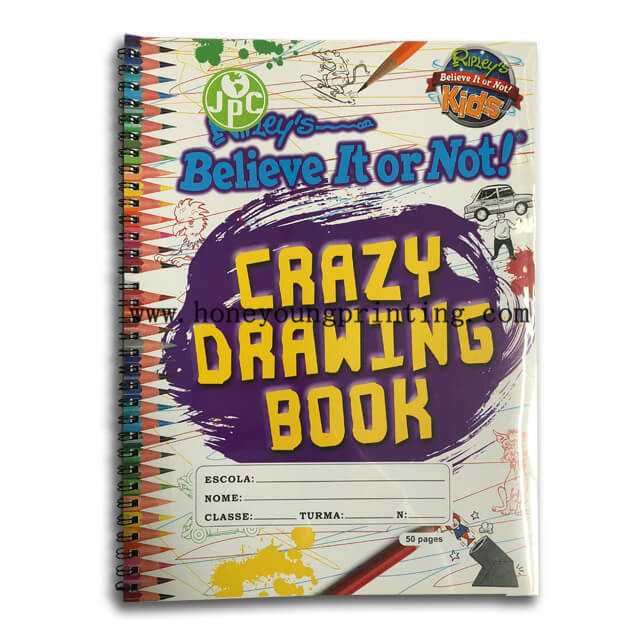 A4 PP cover drawing book 50 pages sketch book spiral wire binding