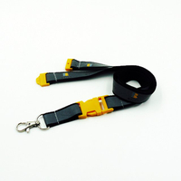 Custom reflective lanyards with yellow color plastic buckle and safety break away