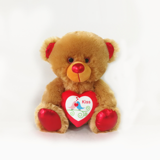 Valentine Bears with Red Heart in Hand Plush Valentine Bears