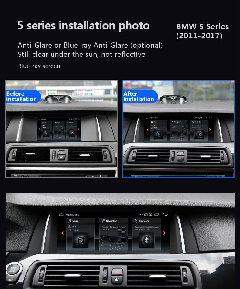 Hualingan For BMW 5 series,CIC system,10.25 inch Android car multimedia system MTK Core 4G internet 64G storage WIFI Carplay