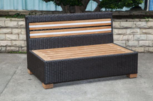 Outdoor Teak 2-Seat Rattan/Wicker Chair (LN-3001-2)