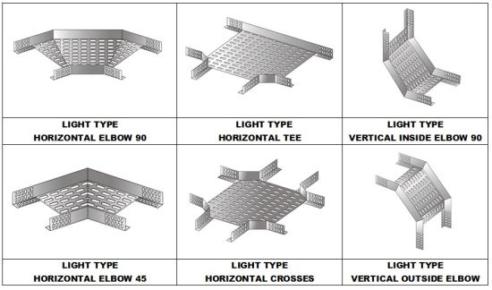 Light Type Cable Tray Accessories Hozizontal Tees/Crosses/Vertical Outside Elbows/Inside Elbows