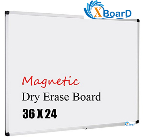 Xboard Magnetic Dry Erase Board 36x24-Inch, Aluminum Frame Whiteboard with Removable Pen Tray