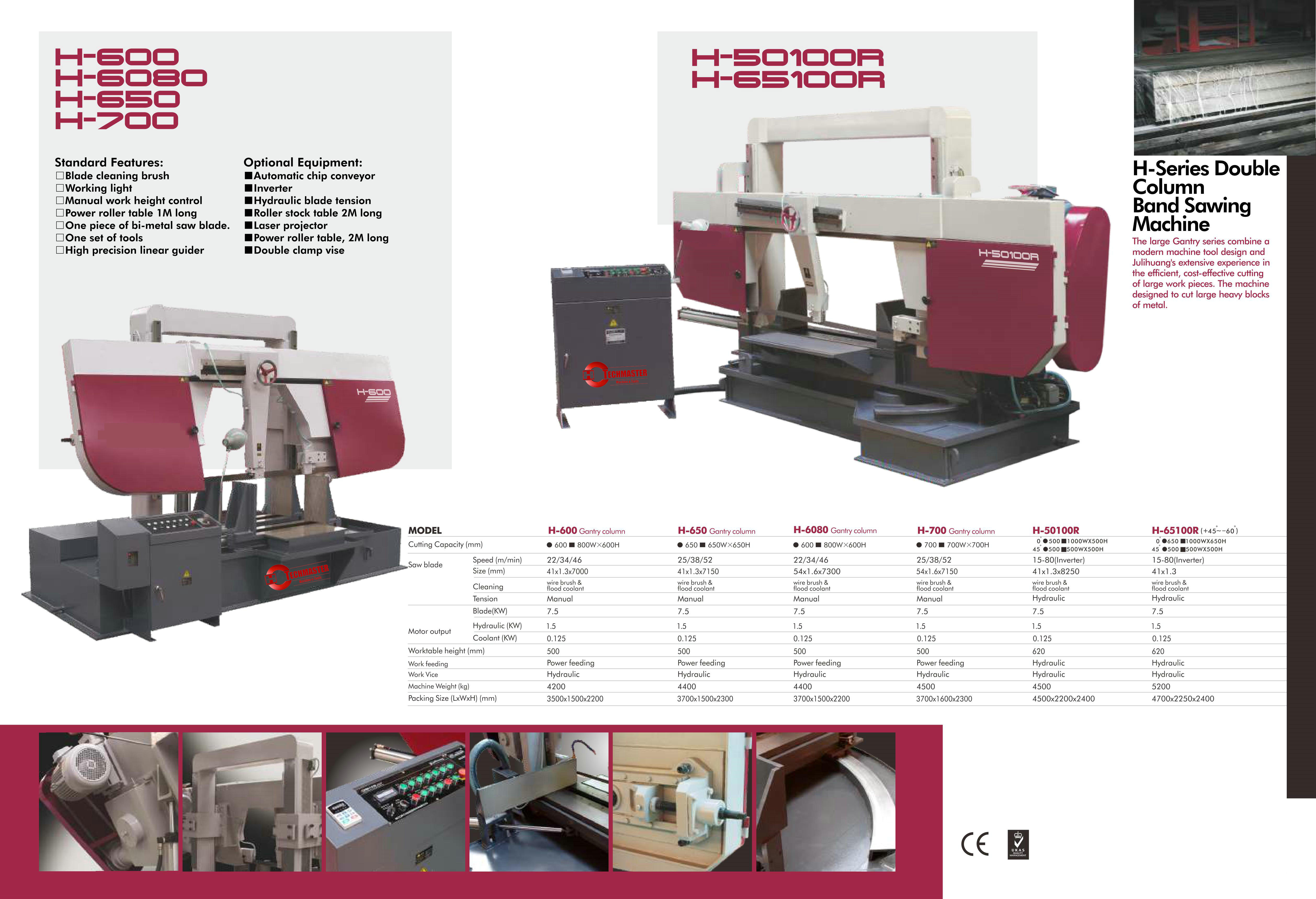 METAL BAND SAWING MACHINE H-600/H-650/H-6080/H-700/H-50100R/H-65100R