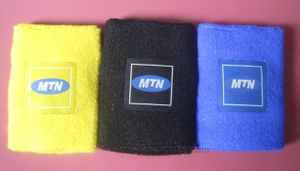 Telecome Company MTN Sports Gift Woven Label Glued Cotton Sweat Bands