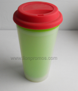 Silicone Lid Plastic Double Wall Coffee Mug