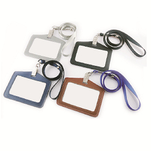 PU Leather Lanyard ID Card Holder with LOGO Debossed