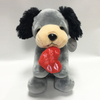 Cute Grey Plush Valentine Dog Plush Stuffed Toy Puppy
