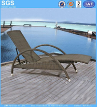 Resort Hotel Wicker Furniture PE Rattan Sun Lounger