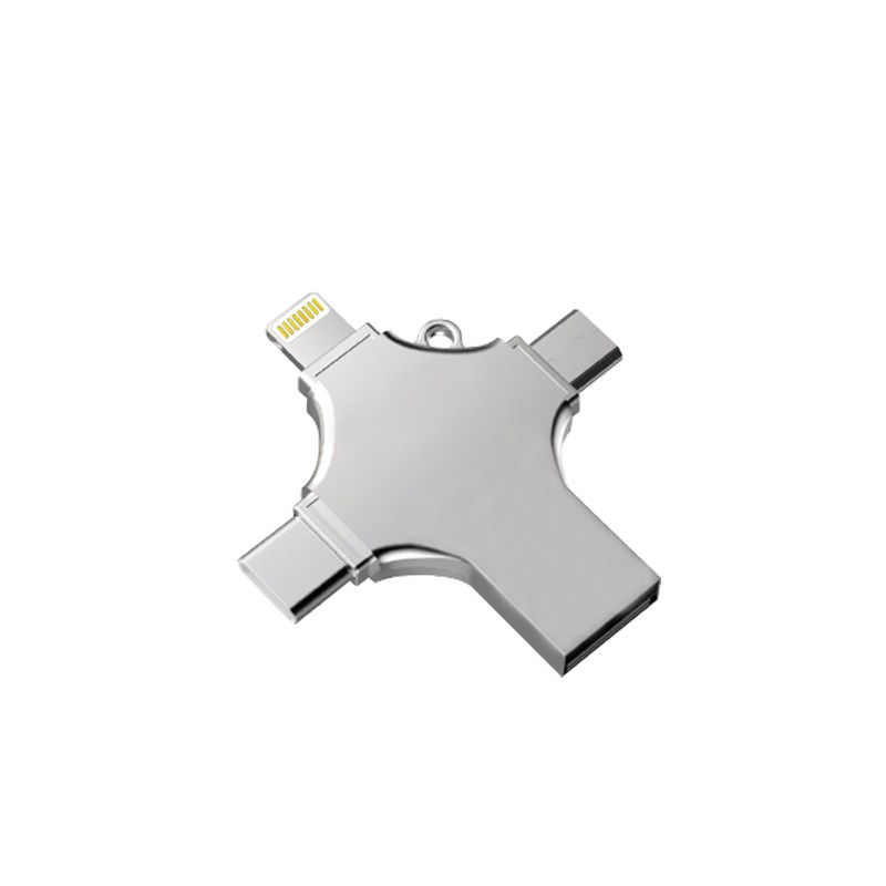 Type-C OTG USB Four Ports Flash Drive for IPhone Micro USB Flash Disk for IPod Android Lightning Flash Drive