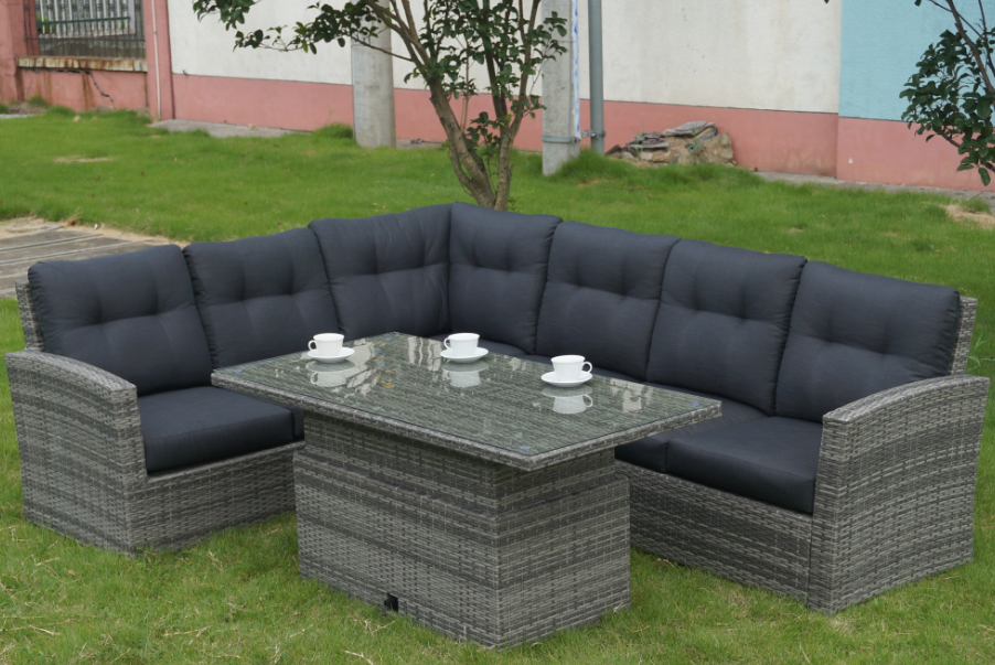New Model Good Design Outdoor Garden Rattan Corner Sofa Set With Adjustable  Table Rattan Corner Sofa Set