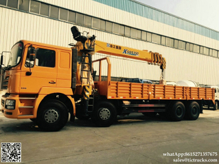SHACMAN F3000 cargo truck mounted crane 14T XCMG SQS350K4Q telescopic boom