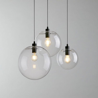 Contemporary hand blown glass hanging lamp round indoor for Suspension transparente