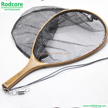 burled wood handle landing net with rubber coated netting