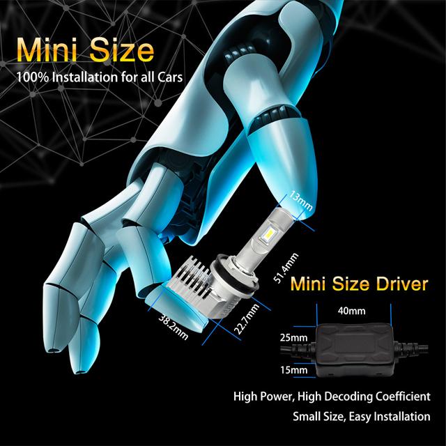 P20 5202 40W 5200lm halogen bulb size car led headlight 08