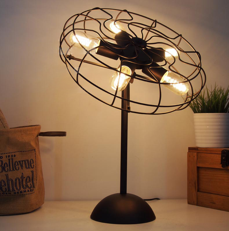 Cool Industrial Retro Style Fan Shape Bedside Table Lamp
