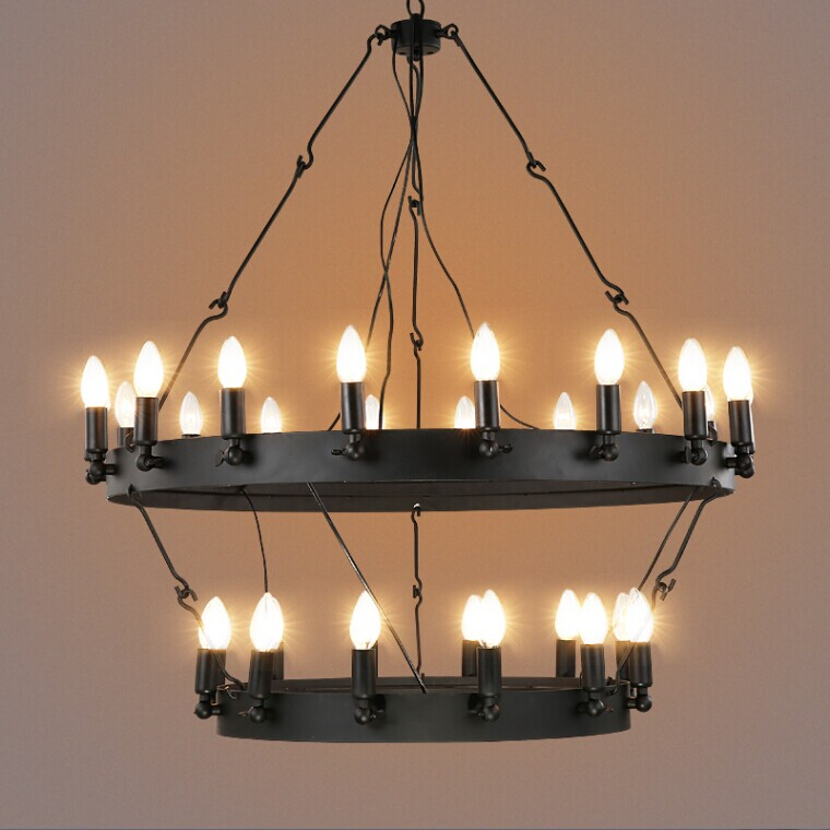 Hanging Light Round: Industrial Vintage Round Shaped Pendant Light Black