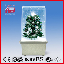 (16029S) Square Box with Glitter Christmas Tree Decoration