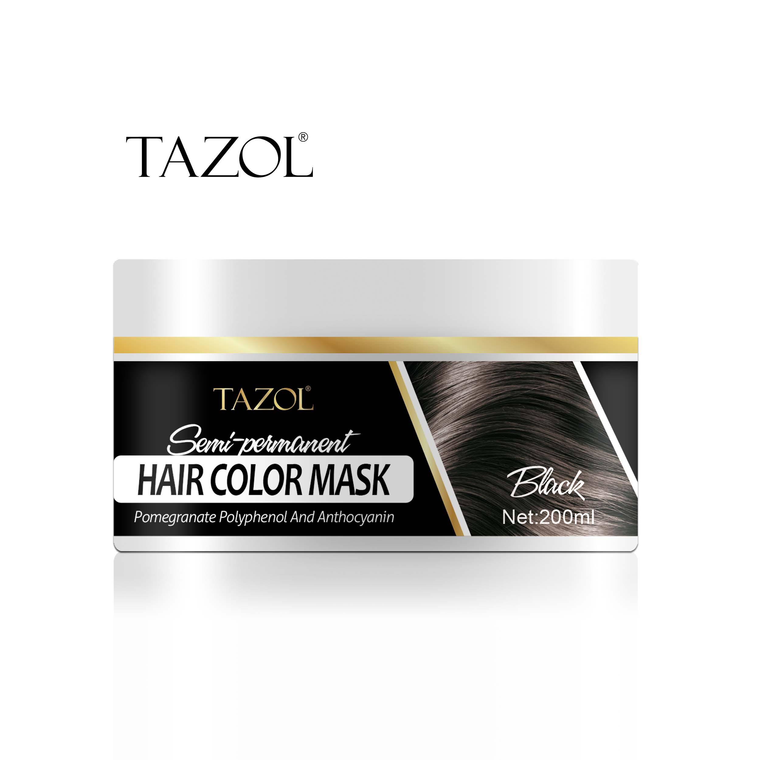 Tazol Semi-Permanant Hair Color Mask 200g with Black Color