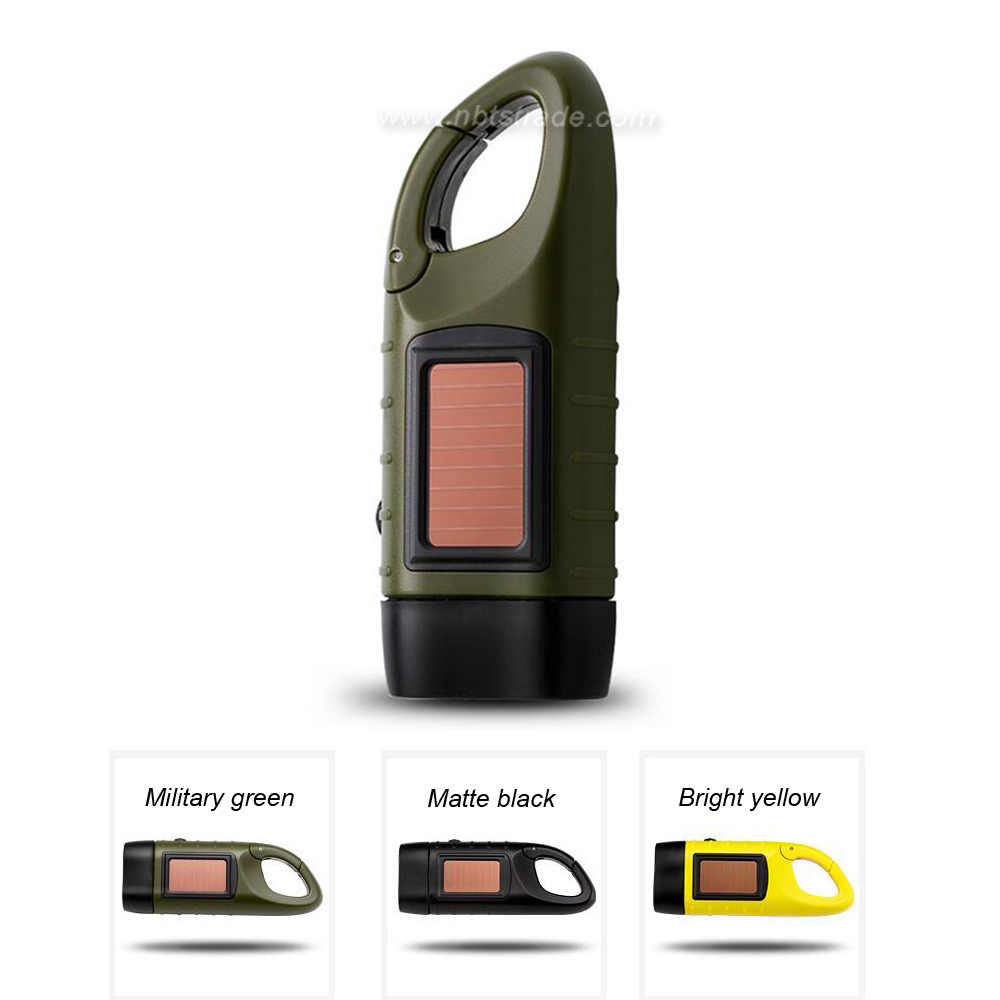 Dynamo Hand Crank And Solar Power LED Flashlight with Carabiner Clasp