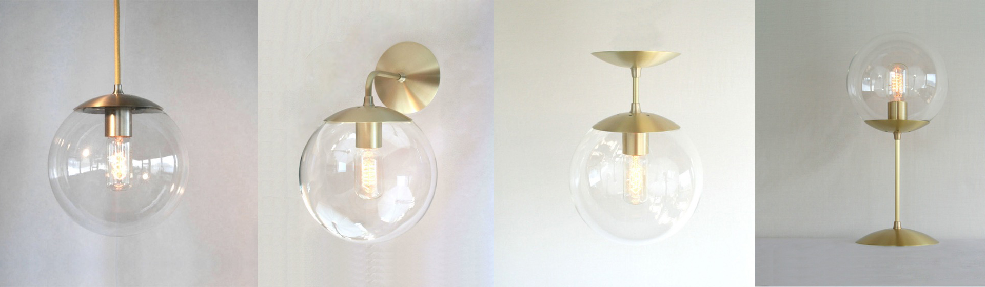Round glass ball lighting fixture