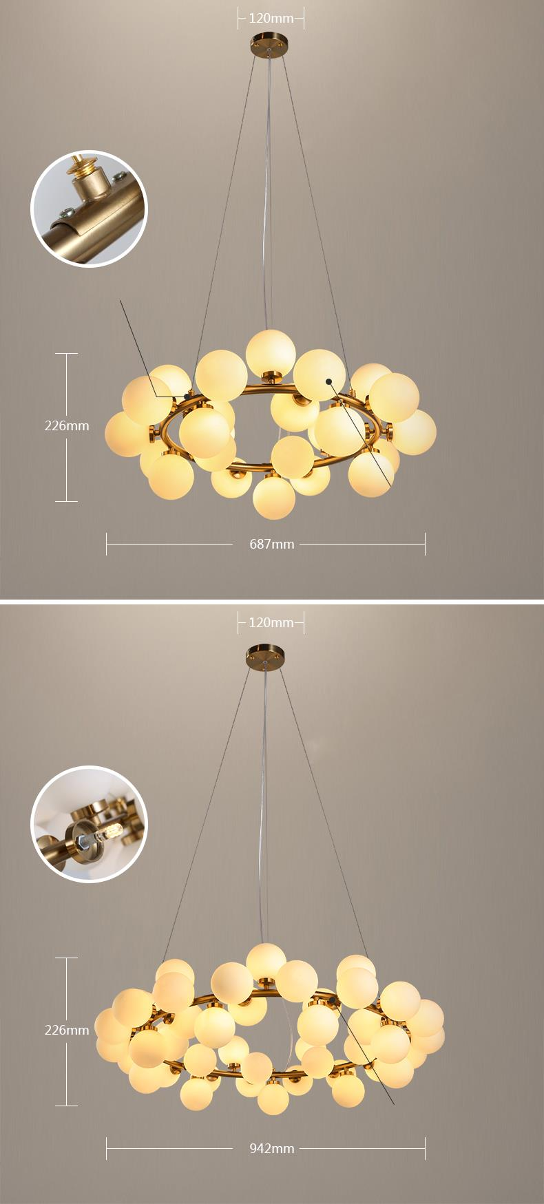 Cute Milk White Bubble Ball Glass Chandelier Modern New Design Led Chandelier Lighting From