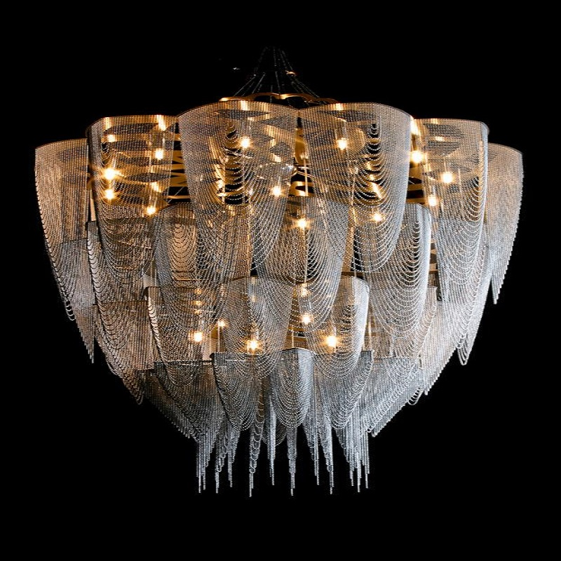 New design contemporary stainless steel chandelier for hotel 8090 12 aloadofball Images