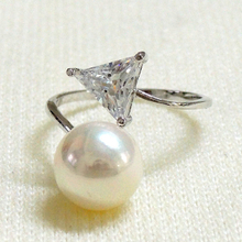 Pearl and Triangle CZ Ring