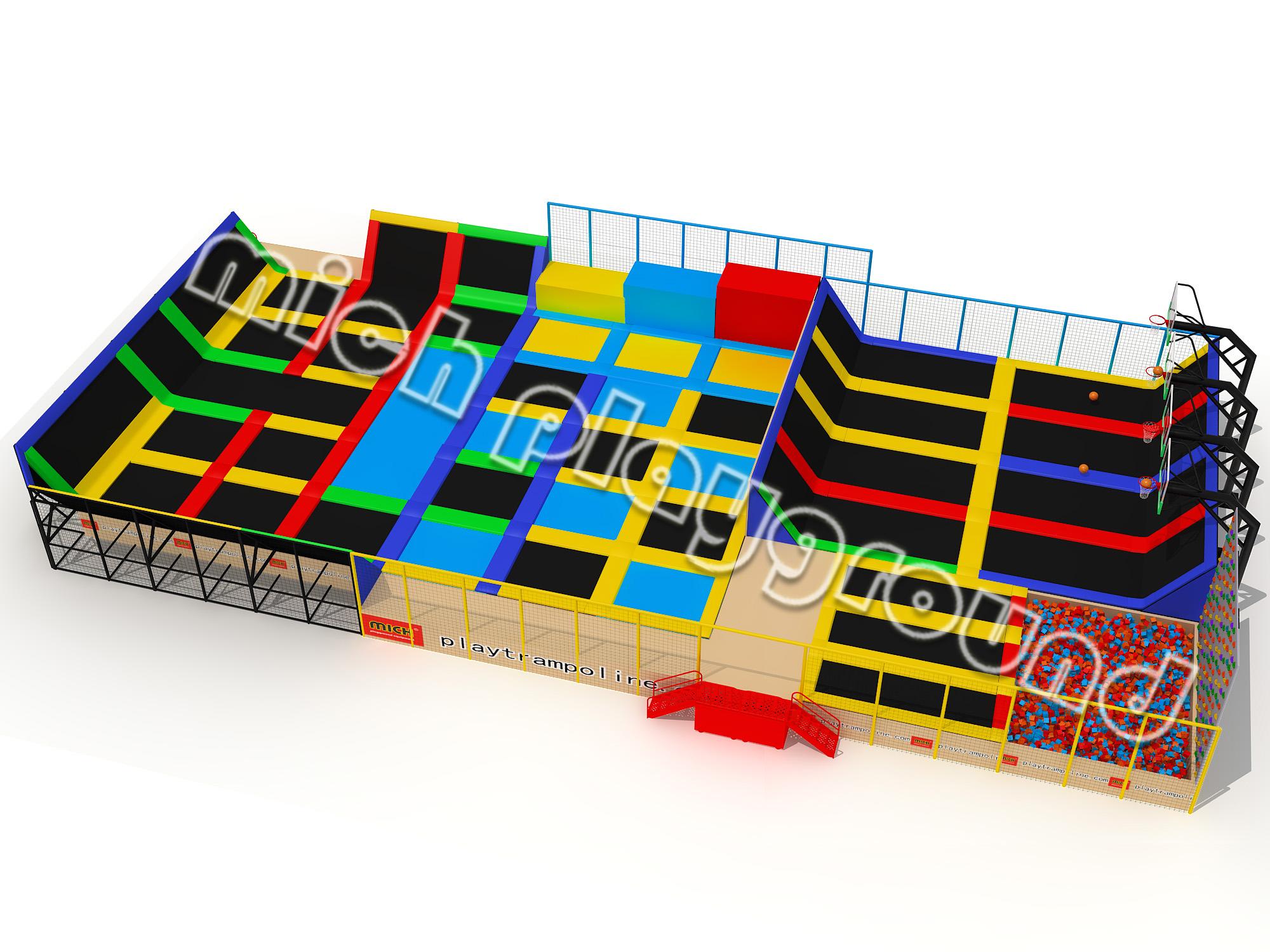 Mich indoor trampoline park design for amusement buy for Indoor trampoline park design manufacturing