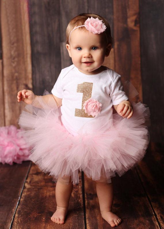 Baby Girl Birthday Party Dress Printed Onesie And Tutu Skirt Baby ...