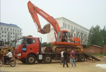 Flatbed truck FAW 8x4 flatbed truck for loading excavator