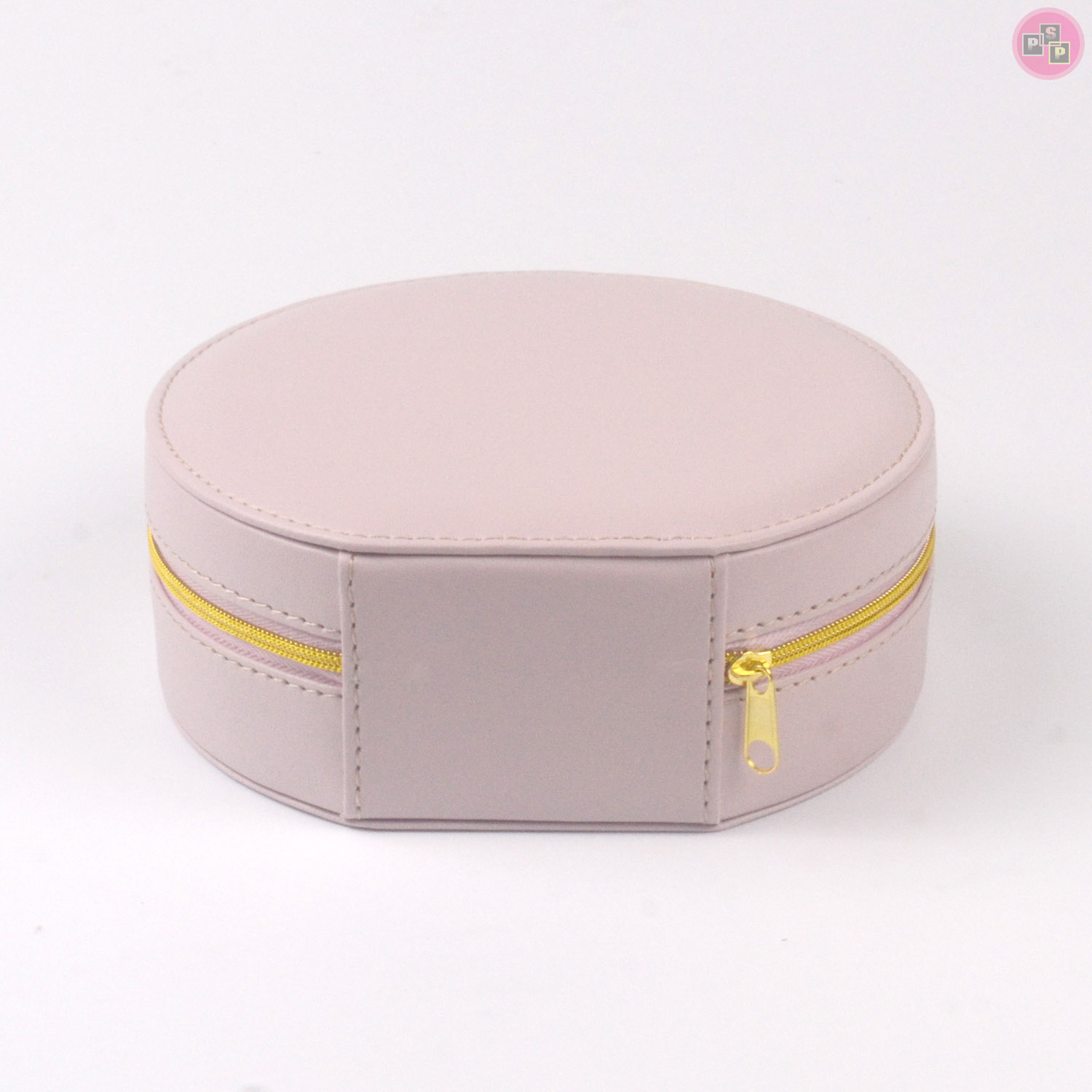 Pink Package White Pu Leather Luxury Round Jewelry Box