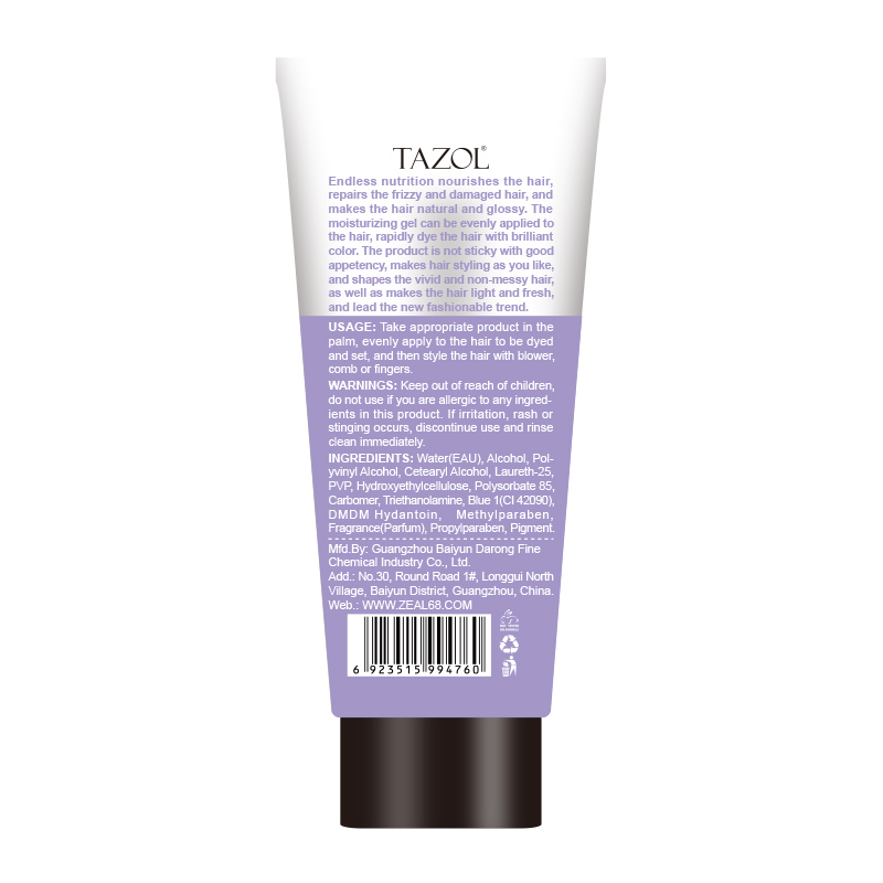 Tazol Temporary Hair Color Gel with Purple Color 100g