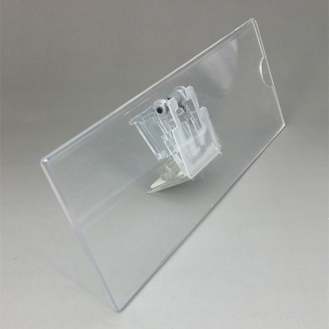 c045 pop acrylic plastic sign price tag card paper display clips holders for retail store promotion