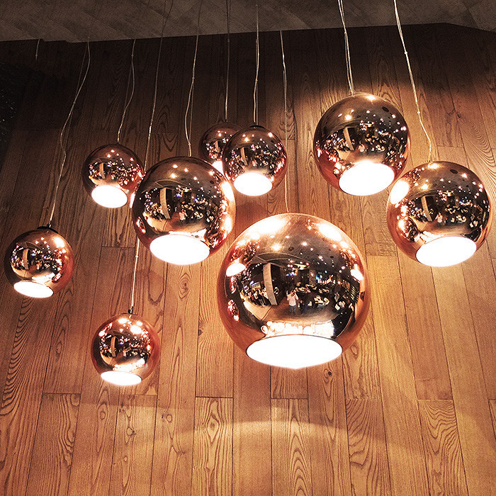 Tom Dixon Copper Shade Pendant Light Mirror Ball Glass