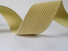 Flame retardant aramid fiber webbing for industry