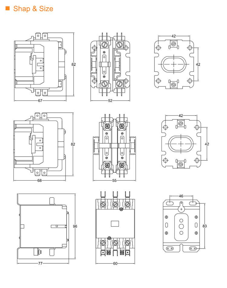 2 pole 20 amp 30 amp 40 amp definite purpose contactor