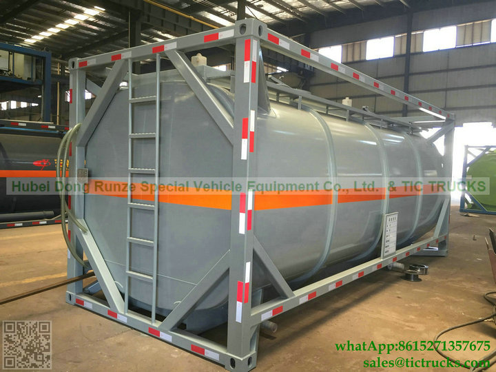 20ft Chemical liquid Tank Container steel lined PE plastic lining 22000L Acid HCL, NaOH ,NaCIO tank To Veinam
