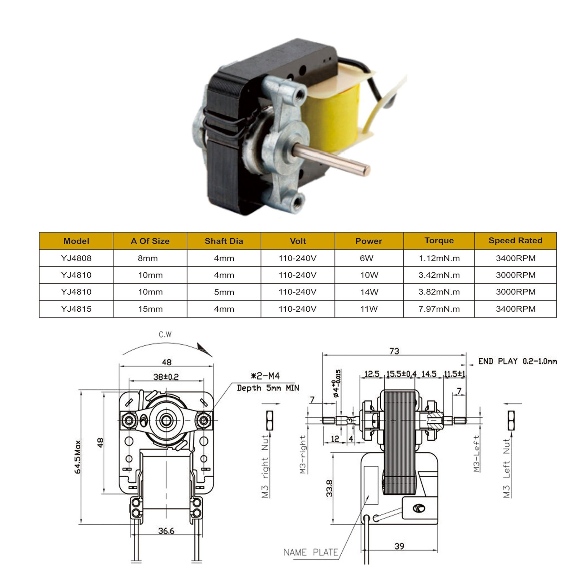 YJ 48 C frame /shaded pole motor for ventilation fan - Buy fan Motor ...