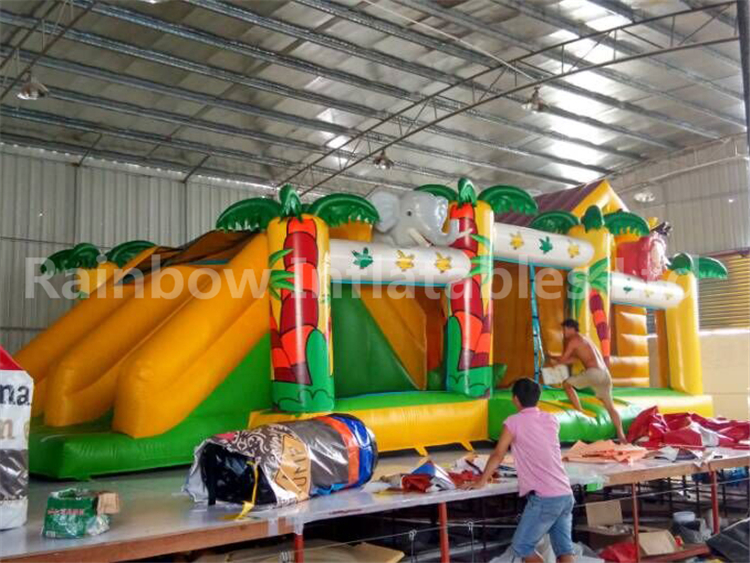 RB4076(9.5x4m)Inflatable Bouncy Obstacle Course With Double Slide For Kids