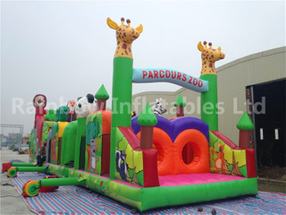 RB5007(4x16x5m) Inflatable Jungle Theme Obstacle Course With Amusing Animals