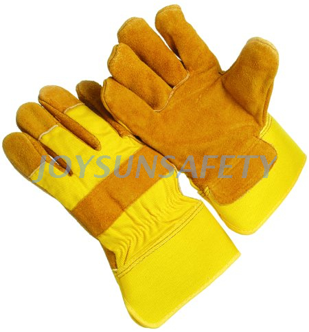 CB322 yellow leather palm gloves