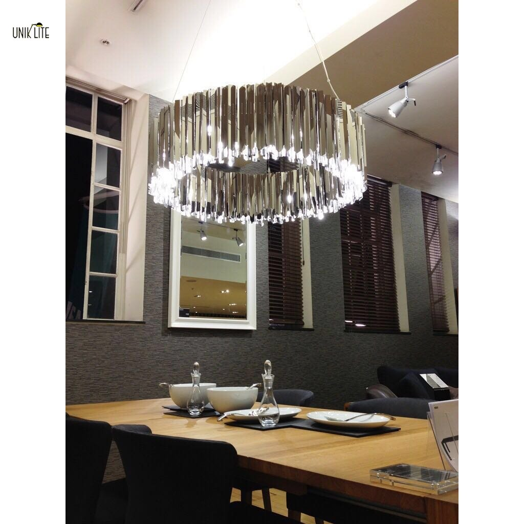 Unik modern stainless steel large chandelier restaurant suspension unik modern stainless steel large chandelier restaurant suspension lamp arubaitofo Gallery